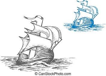 magas hajó, vitorlázik, középkori, alatt