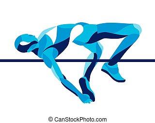 magas, lenget, divatba jövő, higgadt, ábra, ugrás, alakzat., atléta, mozgalom