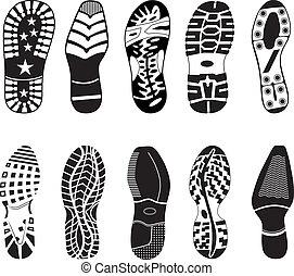 magas, sín, részletez, gyűjtés, cipő