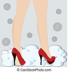 magas sarkú cipő, combok