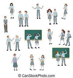 magas, vektor, ábra, csoport, uniform., izbogis, diákok