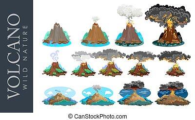 magma, üdvözöl, ébredés, fok, ki, vektor, folyó, alvás, láva, ábra, vulkán, vulkán, tarkít, kitörés, vulkán, lefelé, vagy, holtak hamva, veszélyes, dohányzik, állhatatos, slicc, hegy
