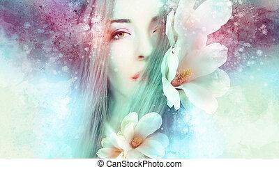 magnólia, gyönyörű woman, artwo
