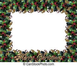 magyal, keret, határ, karácsony