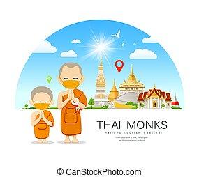 majmok, halánték, thai ember, háttér, újonc, mas, sárga