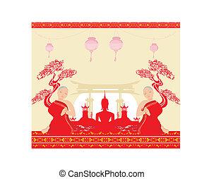 majmok, imádkozás, buddha, táj, ázsiai, árnykép