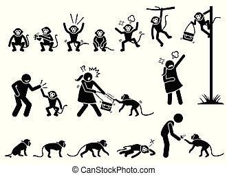 majom, alak, pictogram, bot, emberi, cliparts.