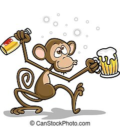 majom, részeg