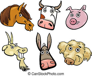 major állat, állhatatos, gazdag koncentrátum, karikatúra