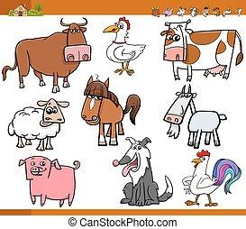 major állat, illustrati, állhatatos, karikatúra