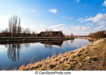 major épület, folyó, holland