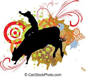 majorság, lovagol, bika