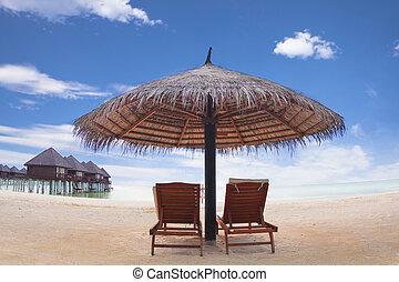 .maldives, esernyő, nyaraló, víz, szék, tengerpart