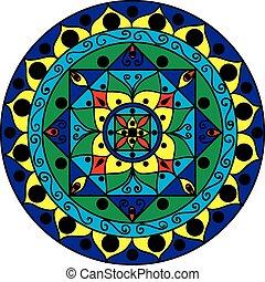 mandala, többszínű