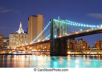 manhattan bridzs, város, york, új, brooklyn
