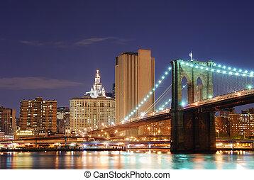 manhattan, város, york, új, brooklyn bridzs
