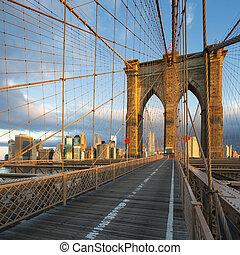 manhattan, york, új, város, brooklyn bridzs