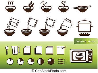 manuals, főzés, cégtábla, csomagolás