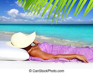 maradék, nő, caribbean, természetjáró, kalap, tengerpart
