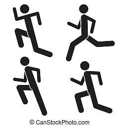 maratoni futás, egészséges, kocogás, icons., bábu jár, futás, sportember, sprinter., athlete., hím, emberek., lifestyle., jel, állhatatos