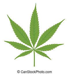 marijuana., kender, vektor, leaf.