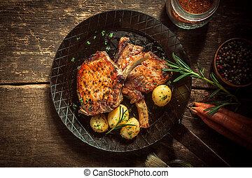 marinírozott, ínyenc, disznóhús, étkezés, bordák