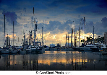marina, felett, napnyugta, cannes