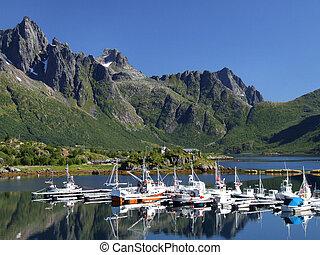 marina, színpadi, jacht, norvégia