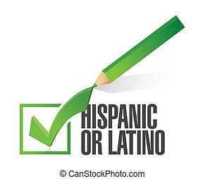mark., kiválasztott, vagy, spanyol, latino, ellenőriz