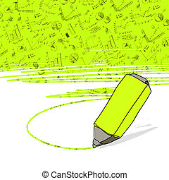 marker., kereskedelmi ügynökség, sikeres, vector., ábra, sárga highlighter, kijelölt