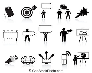 marketing, állhatatos, fekete, ikonok