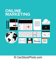 marketing, állhatatos, online, lakás, ikonok