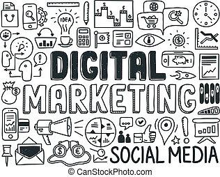 marketing, alapismeretek, állhatatos, digitális, szórakozottan firkálgat