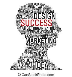marketing, fej, siker, kommunikáció