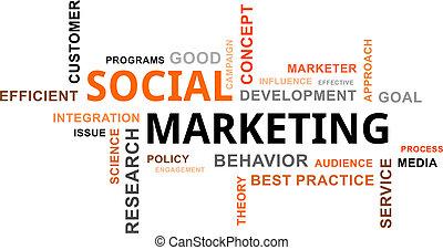 marketing, -, felhő, szó, társadalmi