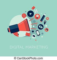 marketing, fogalom, ábra, digitális