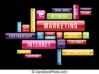 marketing, fogalom, internet, felhő, szöveg