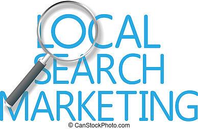 marketing, keres, helybeli, szerszám, talál