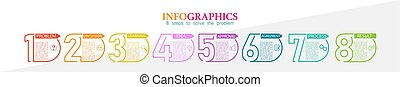 marketing, probléma, 8, kibogoz, infographic, lépések, ügy, pénzel