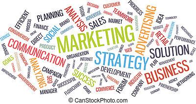 marketing, szó, ügy, felhő, stratégia