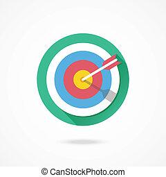 marketing, vektor, céltábla, ikon