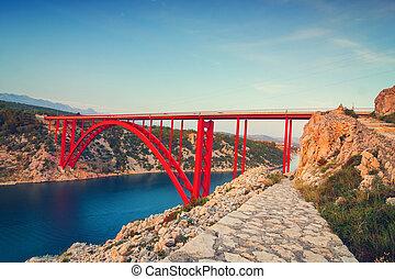 maslenica, keskeny, horvátország, gyönyörű, napnyugta