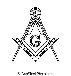 masonic, embléma, vektor, szabadkőművesség, logo., ikon