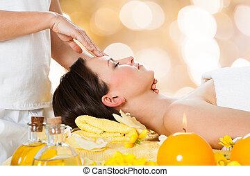 massager, fej, nő, felfogó, masszázs