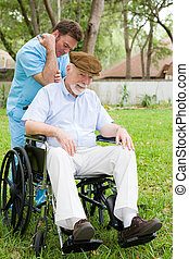 masszázs, ember, idősebb ember, terápia