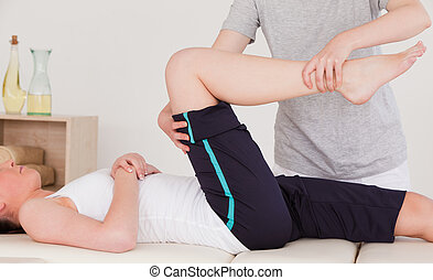 masszőz, láb, kifeszítő, atlétikai, nő, helyes