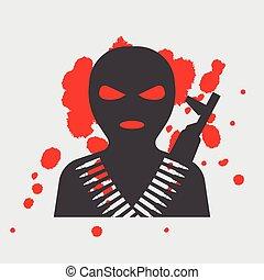 maszk, balaclava, terrorista, ikon