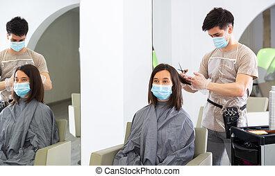 maszk, nő, bábu arc, hajvágás, fogadószoba, használ