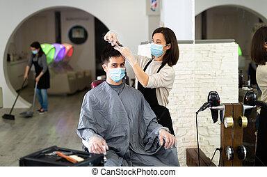 maszk, oltalmazó, emberek, fogadószoba, haj