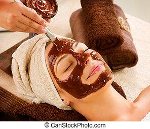 maszk, szépség, csokoládé, spa., fogadószoba, arcápolás, ásványvízforrás
